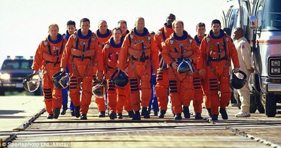 The cast of Armageddon during the scene walking to the ...
