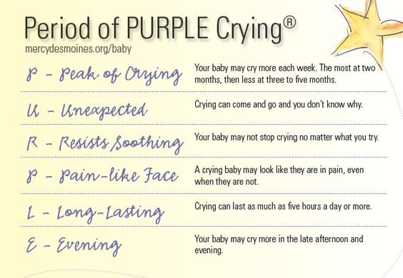 Raise awareness about the Period of PURPLE Crying© to prevent Shaken Baby Syndrome. The Period of PURPLE Crying© is the phrase used to describe the point in a baby's life when they cry more than any other time. PURPLE is an acronym to explain the symptoms.