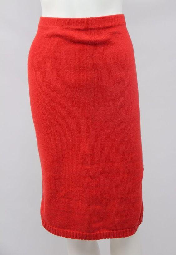 Vintage Diane Von Furstenberg DVF Large Orange Cotton Sweater Stretch Knit Skirt #DianevonFurstenberg #StretchKnit
