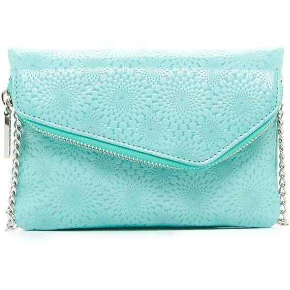 Hobo Daria Leather Crossbody Clutch ($55) ❤ liked on Polyvore featuring bags, handbags, clutches, embossed aqua, chain strap purse, crossbody purse, blue leather purse, leather crossbody handbags and hobo clutches