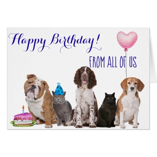 Happy Birthday From All Of Us Dog Cat Card Zazzle Com With