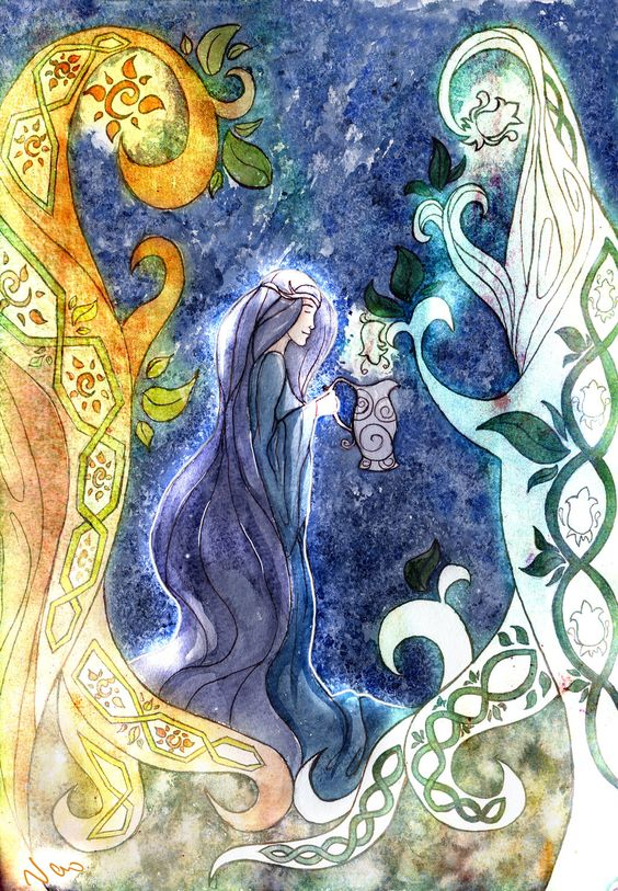 Galadriel would often water trees and plants in her forest herself with her charmed vase from which she poured enchanted water, so that the plants may be strong and she sang to them, for she loved them greatly.  The plants felt this and they responded to her, and shrouded her kingdom in protection and mazes, and formed a wall innacessible from the outside except to those who knew high magic.