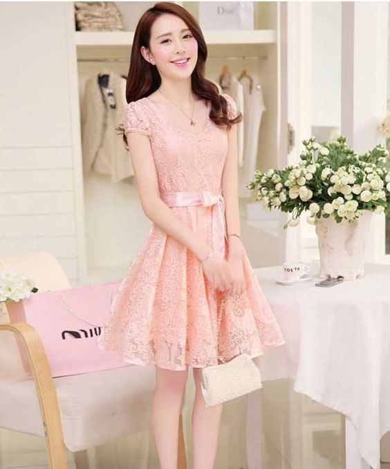 Resultado de imagen para vestido elegante de encaje coreana