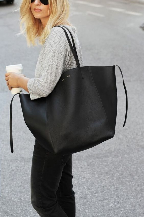 Big black tote bag goes with everything. #totebags #bagsandpurses #handbags