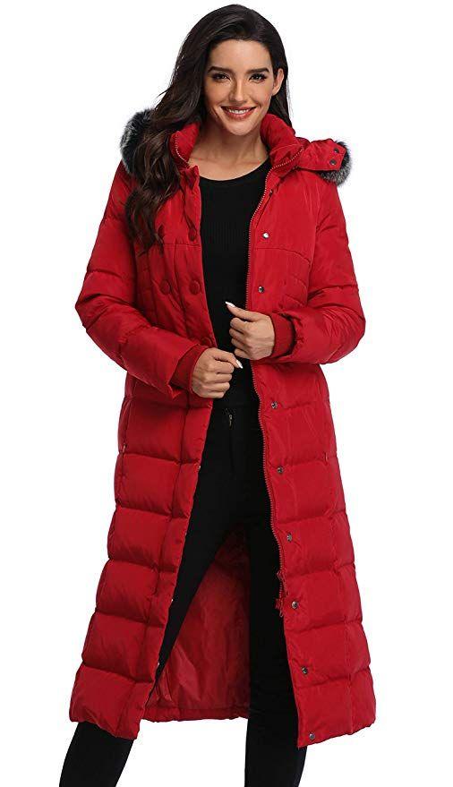 Molodo Womens Hooded Maxi Down Coat Long Puffer Jacket Black