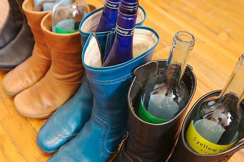 Ways to reuse your old wine bottles: Keep your boots upright in storage
