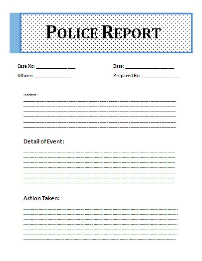 Printable Sample Police Report Template Form – Mock Police Report
