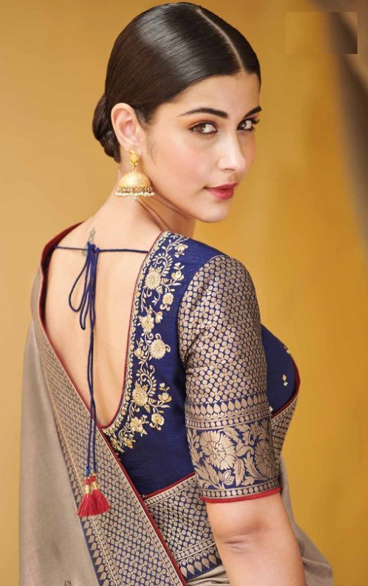 Blue Readymade Saree Blouse Durga Puja Marriage View Embroidered Women/'s Art Silk Saree Blouse Sari Indian Tunic Top Choli Shirt Round Neck