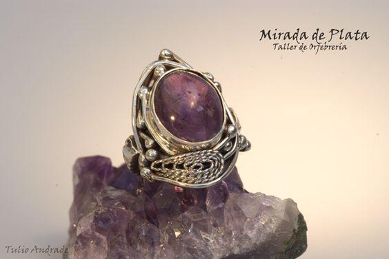 Anillo de plata y filigrana con amatista africana. Pieza única. #anillo #joyas #complemento #plata #metales #jewellery #sterling silver #moda
