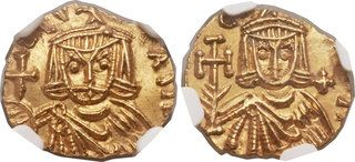 CoinArchives.com Ancients Leo III the Isaurian (AD 717-741), with Constantine V (AD 720-775). AV tremissis (13mm, 1.30 gm, 5h). Syracuse, AD 735-741. [∂] LЄON P A MЧ, crowned facing bust of Leo, wearing chlamys pinned at right shoulder, holding globus cruciger in right hand and akakia in left / [∂ N] CO[NST-ANTIN], crowned facing bust of Constantine, beardless, wearing chlamys pinned at right shoulder, holding cross potent in right hand and akakia in left, + in right field.