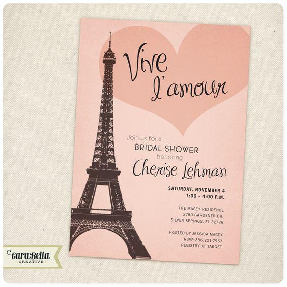 Paris theme paris and paris bridal shower on pinterest for Paris themed invitations bridal shower