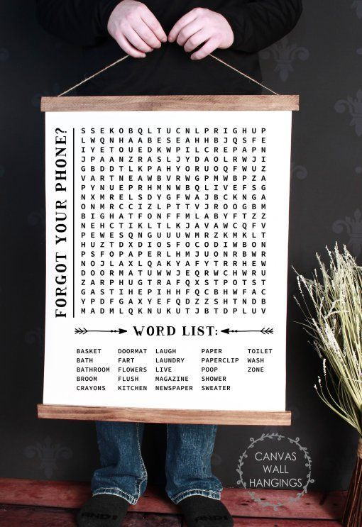 Wood Canvas Wall Hanging Bathroom Word Search Forgot Phone Wall Art Bathroom Canvas Canvas Wall Hanging Bathroom Wall Art