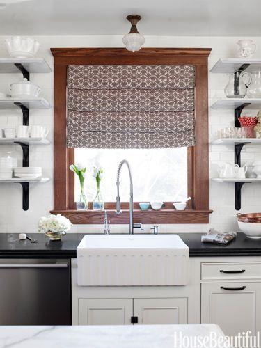 Marble open shelves with steel brackets. Design: Nicole Hough. Photo: Laura Moss. housebeautiful.com. #kitchen #shelves #farmhousesink