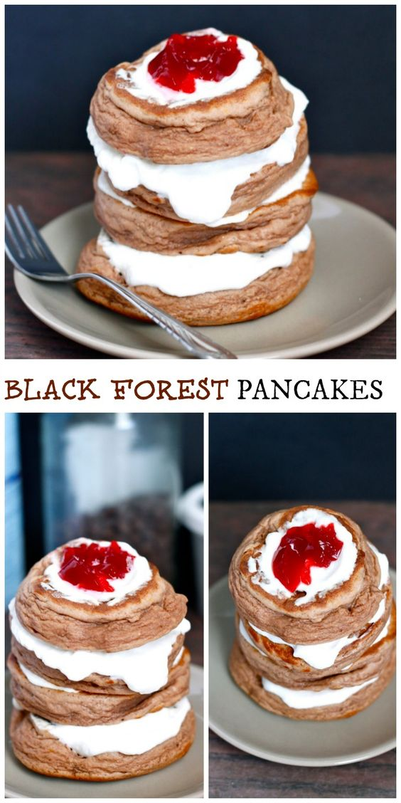[Healthy and Sugar Free!] Black Forest Pancakes- The fluffiest pancakes ever which taste just like dessert!