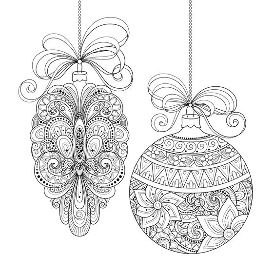 Christmas ornaments : use this coloring page to make your own greeting cards…