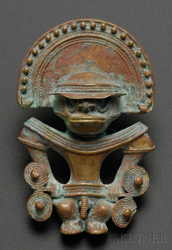 Pre Columbian Tumbaga Figural Pendant Indian Sculpture Indian Artifacts Native American Indians