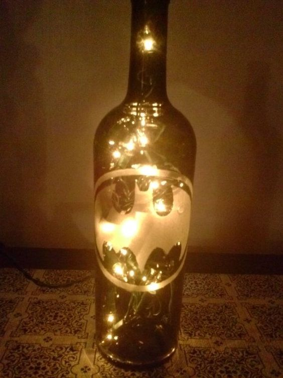 Wine bottle with interior lights. Can be painted with ...