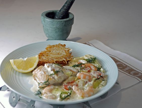 with Prawns and Potato Cakes Recipe Main Dishes with steak, potatoes ...