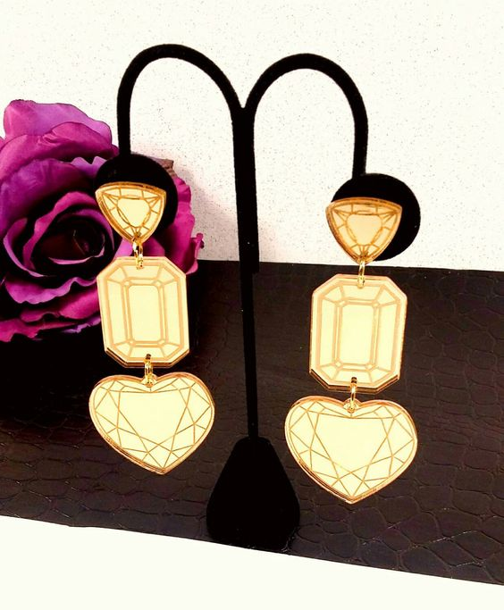 XXL TRIPLE GEMSTONE Earrings-Three Different Large Gemstones In Gold Mirror Etched Laser Cut Acrylic
