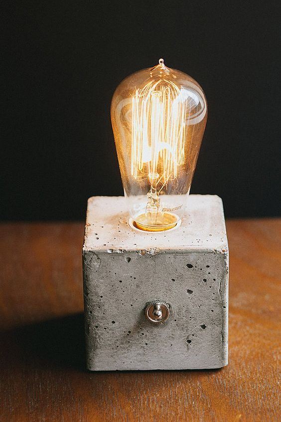 concrete desk lamp with edison bulb by minimaldesignco on
