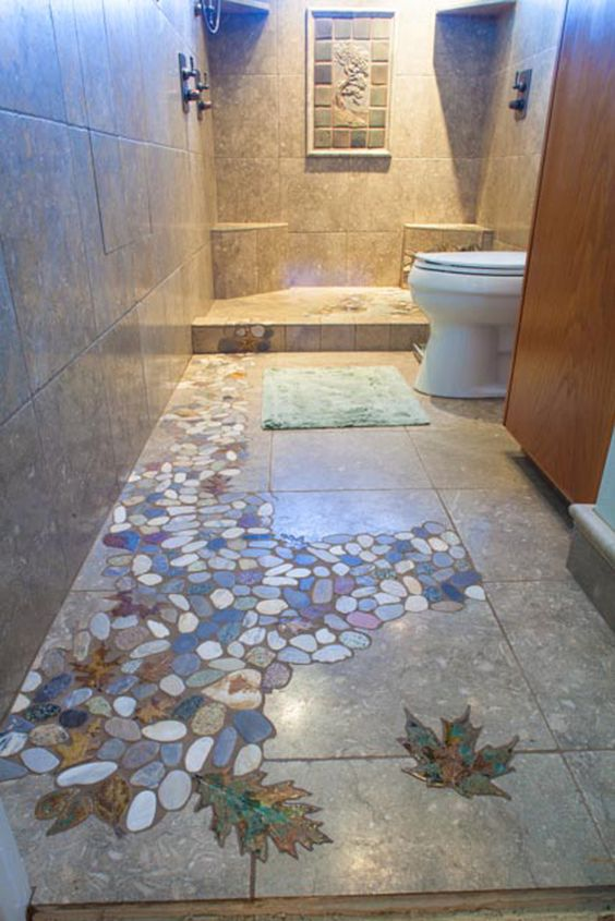 River Pebble Tile Showers Stoneleaf Leaf Tile House