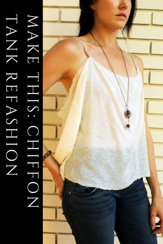 Make This Chiffon Draped Tank with this Simple DIY Refashion