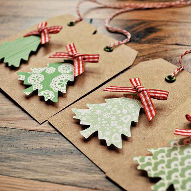 DIY Christmas tree gift tags - so simple - use the foam stick tabs to give them dimension | on to baby
