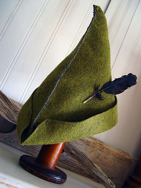 peter pan hat - triangle piece of felt, folded in half.  Good for a Halloween costume! Made this for my son (he's 3).  He was the cutest Peter Pan you ever did see!