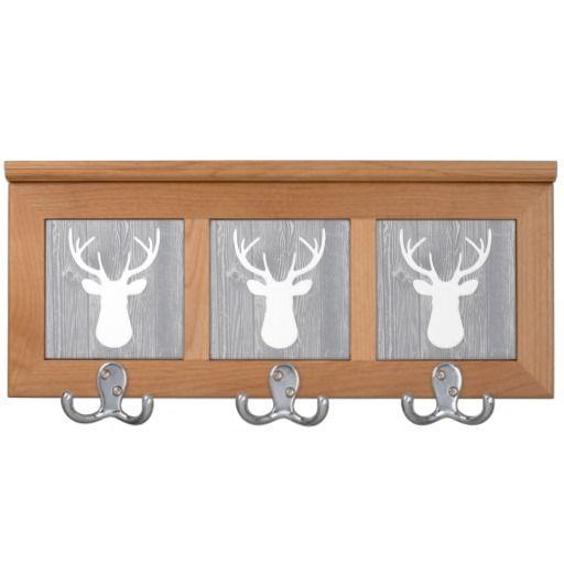 Grey Wood White Deer Head Coat Rack
