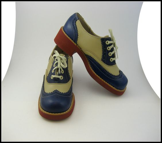 VINTAGE Deadstock 1960's Spalding Blue and Beige Saddle Shoes US Women's Size 6 - 7. $50.00, via Etsy.