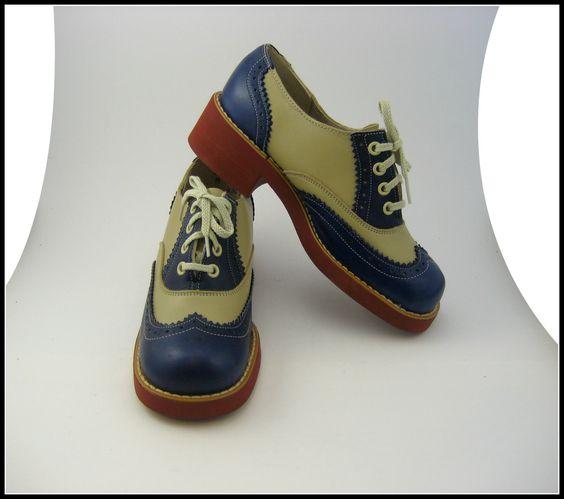 VINTAGE Deadstock 1960's Spalding Blue and Beige Saddle Shoes US Women's Size 6 - 7. $50.00, via Etsy.:
