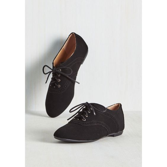 Menswear Inspired, Scholastic Academic Excellence Flat ($35) ❤ liked on Polyvore featuring shoes, black, flat, oxford flat, perforated oxford shoes, menswear inspired shoes, black flats, flat oxfords and kohl shoes