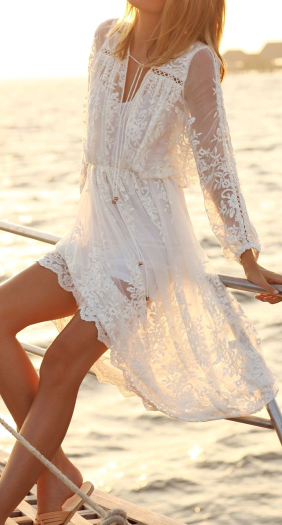 white beach dress in hippie boho bohemian gypsy style. For more follow www.pinterest.com/ninayay and stay positively #pinspired #pinspire @ninayay