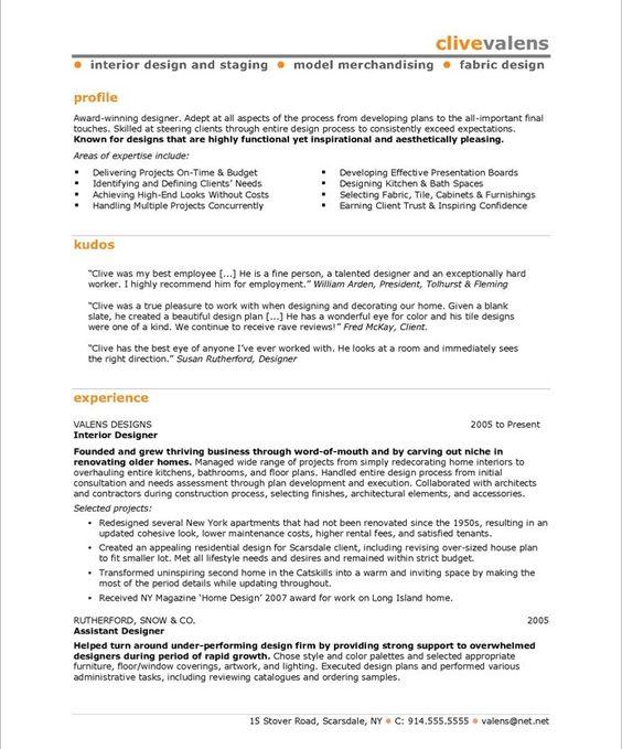professional interior designer resume http