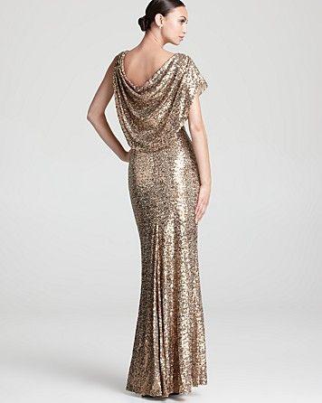 Badgley Mischka Sequin Gown - One Sleeve Cowl Neck ...