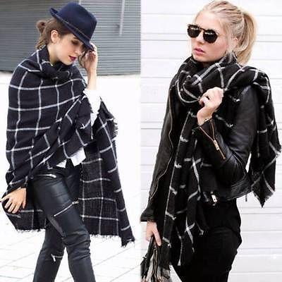 Damen-Herren-Tartan-Winterschal-Kariert-Schal-Tuch-2015-Fashion-Poncho-XXL-Wraps