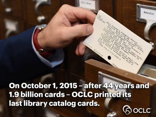 libraryjournal:  https://www.oclc.org/en-US/news/releases/2015/201529dublin.htmlSo long, farewell, auf Wiedersehen, goodbye. You had a great run, catalog card.