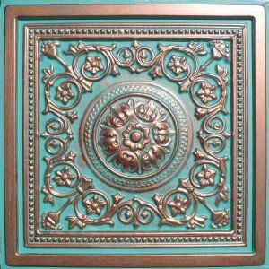 "faux copper patina ceiling tile, 24"" square"