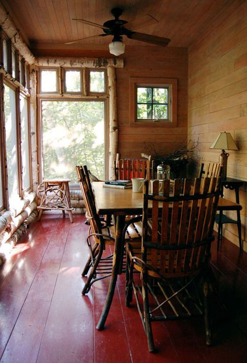 Rustic porches porches and birches on pinterest for Log cabin window trim