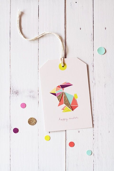 This Origami Bunny Hoppy Easter Gift Tag by Eat Drink Chic blogger