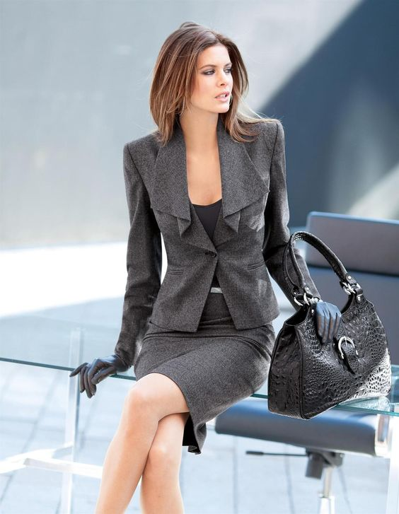this skirt suit is perfect for any man or woman who wants to look fashionable and professional. Fashion equality in the workplace.