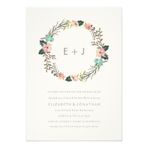 Watercolor floral wreath wedding invitation monogram with for Minimalist floral wedding invitations