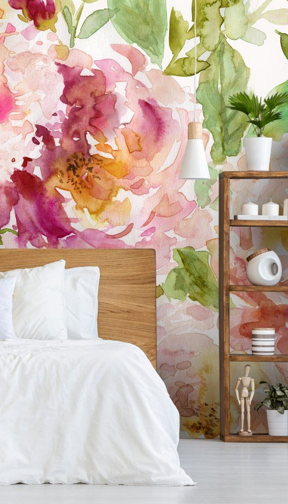 How to make a small room look bigger with a wall mural from Wallsauce. Watercolour wallpaper. Stunning Bold and Beautiful Floral wall mural from Wallsauce. This high quality Bold and Beautiful Floral wallpaper is custom made to your dimensions. Easy to order and install plus free delivery. Where to buy watercolour wallpaper. Floral watercolour painting by Carol Robinson. #watercolour #wallmural #pinkbedroom #bedroominspiration