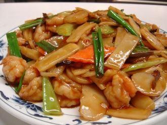 Shrimp In Hot Garlic Sauce:Shrimp sautéed with bamboo ...