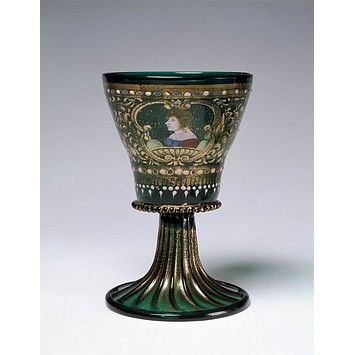 Goblet. Venice 1475-1500. Green glass, foot blown in a dip-mould, with enamelled and gilded decoration. V & A Museum.: