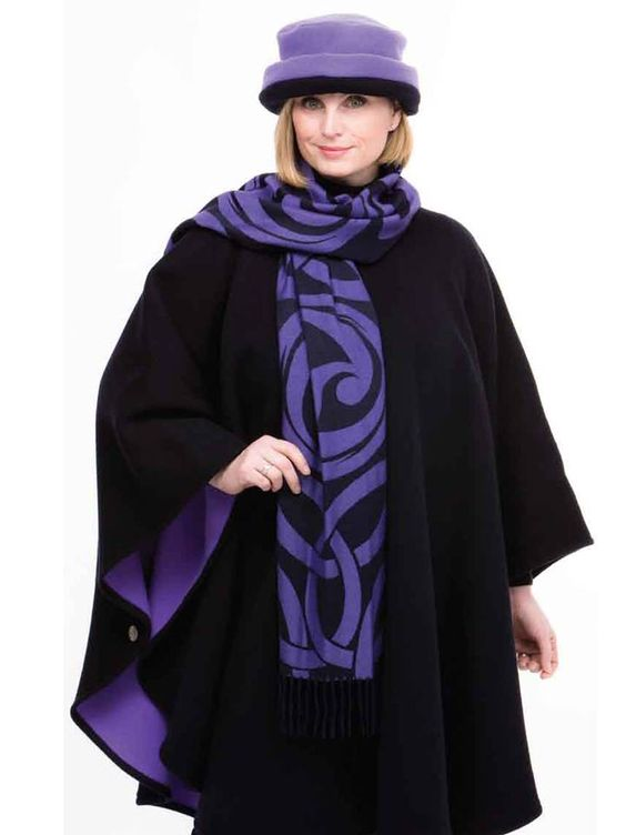 Navy-Lilac Celtic Wool & Cashmere Cape