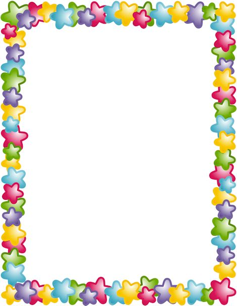 A page border with stars in different colors. Free ...