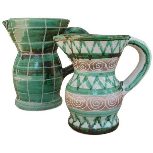 Pair of Ceramic Pitchers by Robert Picault, Vallauris