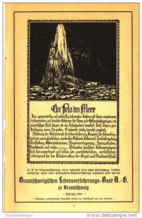 Original-Werbung/ Anzeige 1921 - BRAUNSCHWEIGISCHE LEBENSVERSICHERUNGS- BANK / BRAUNSCHWEIG - ca. 120 x 190 mm