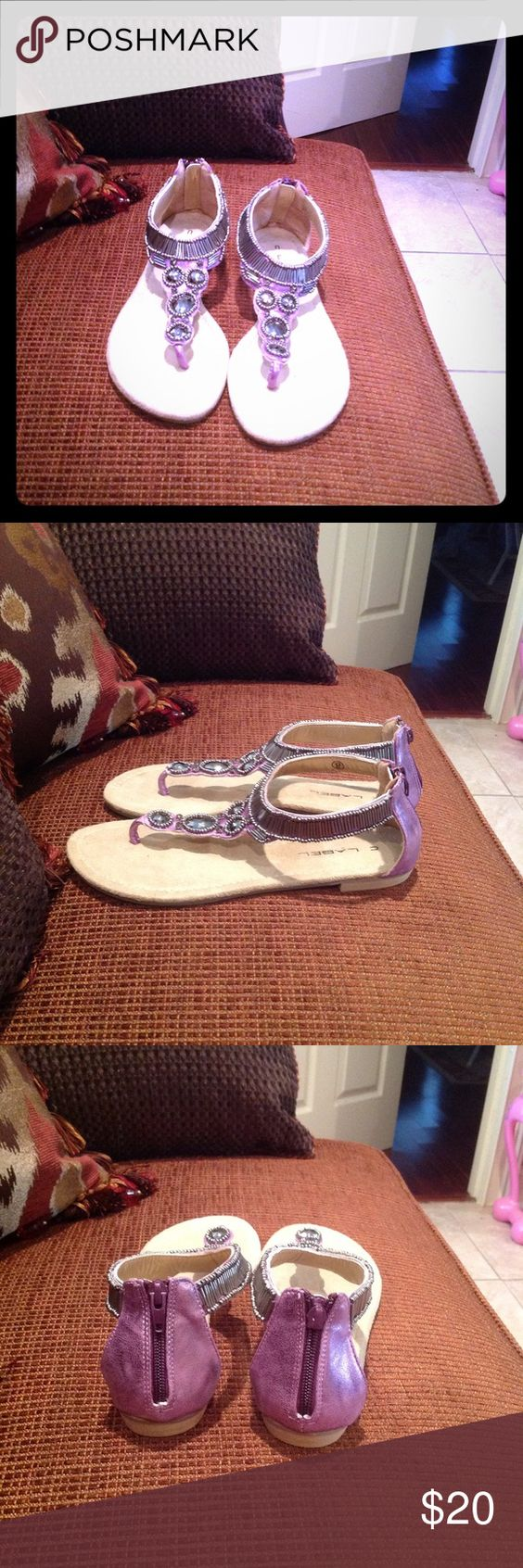 Lavender sandals shoes - Lavender Flats Cute Lavender Flat Sandals With Silver Detailing C Label Shoes Sandals